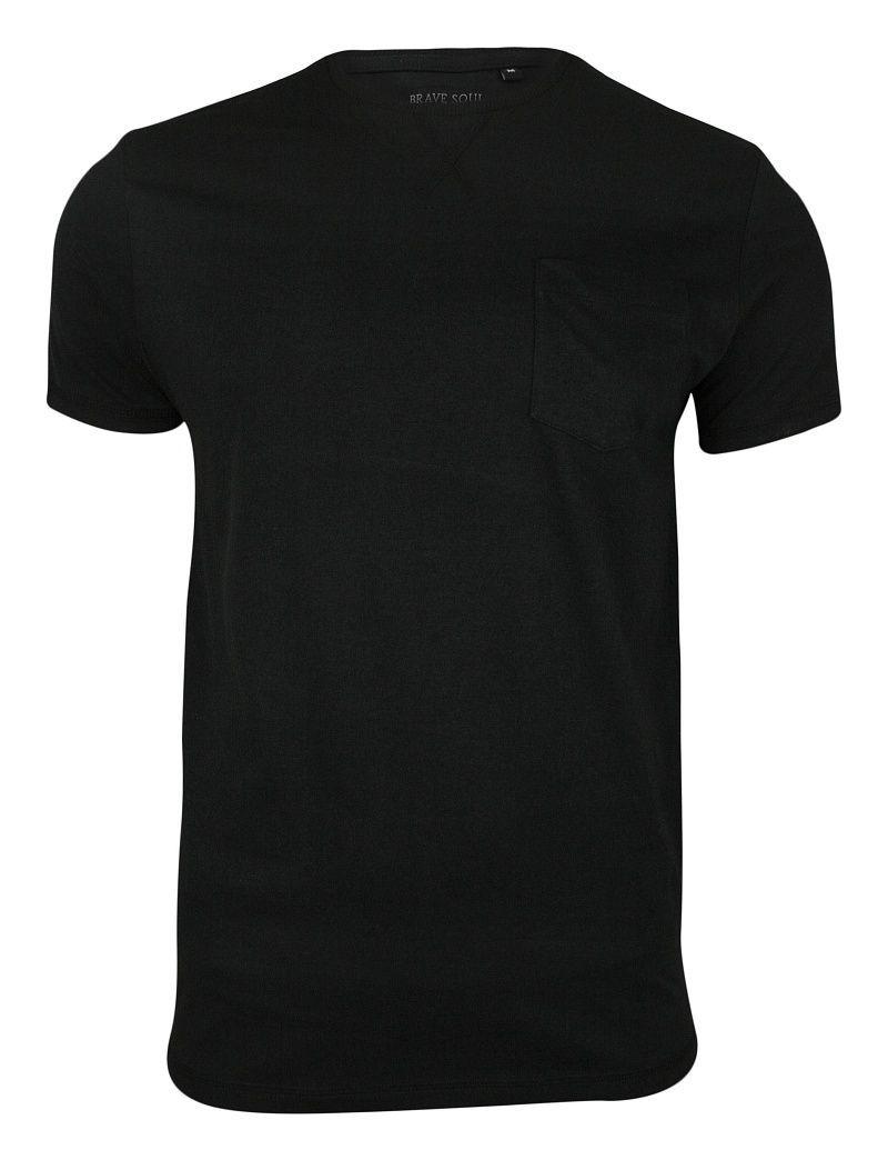 Czarny Bawełniany T-Shirt (Koszulka) z Kieszonką, Bez Nadruku - Brave Soul, Męski TSBRSSS19ARKHAMblack