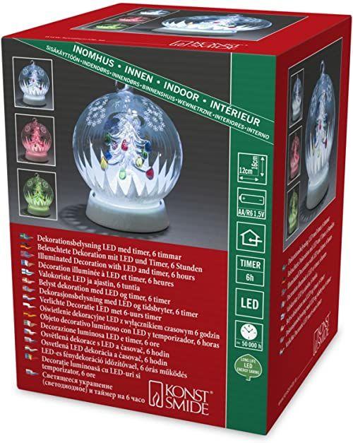 """Konstsmide 3407-000 LED szklana kula """"Choinka bożonarodzeniowa"""" / do użytku wewnątrz / na baterie: 3 x AA 1,5 V (brak w zestawie) / z 3 funkcjami, timer 6 h i zmiana kolorów RGB / 1 dioda RGB"""