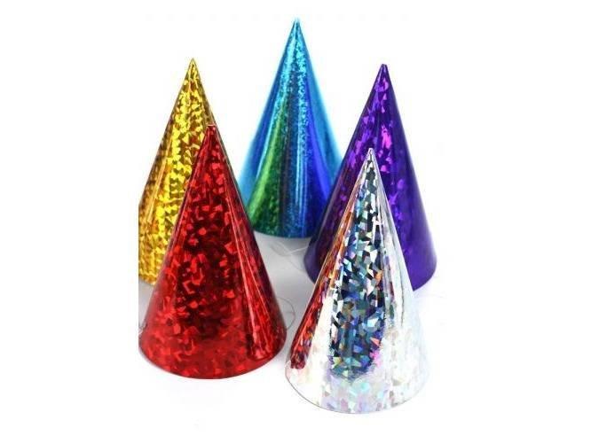 Czapeczki kolorowe holograficzne - 6 szt.