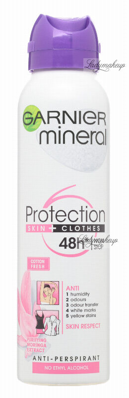 GARNIER - Mineral - Protection Skin + Clothes - Cotton Fresh - Antyperspirant w spray''u 6w1 z ekstraktem z moringi - 150 ml