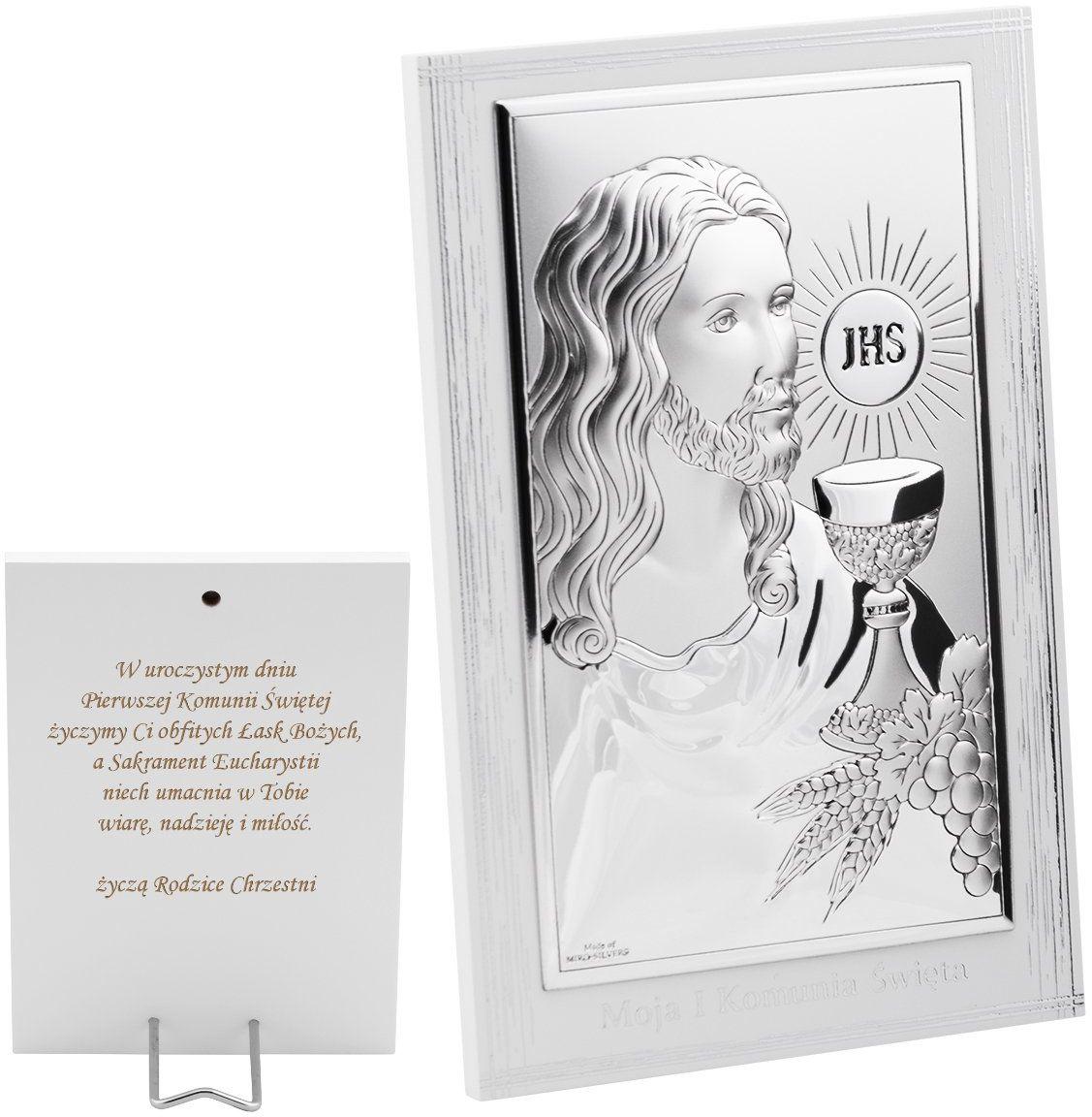 Obrazek srebrny Jezus z Hostią pamiątka na I Komunię Św. Grawer