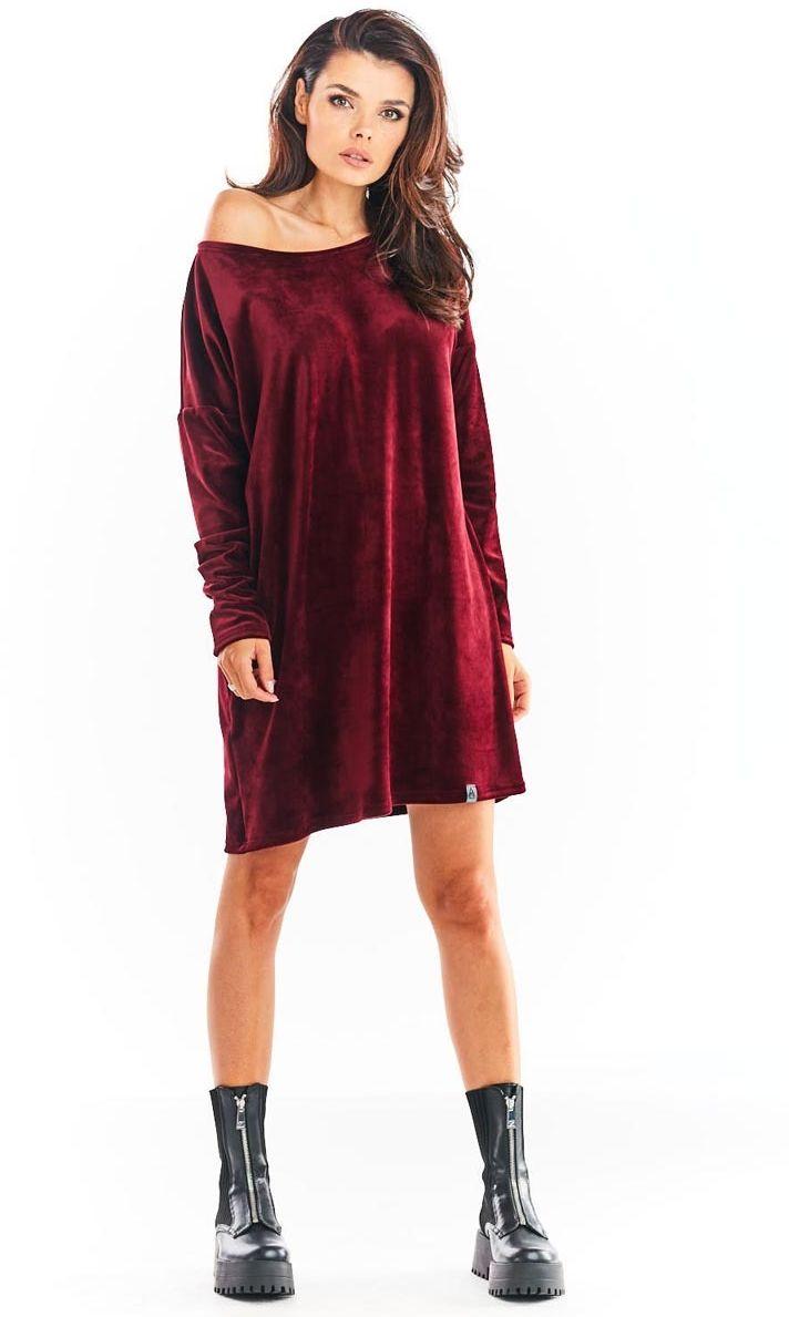 Krótka welurowa sukienka z łódeczkowym dekoltem - bordowa