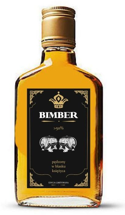 Czarno-złote etykiety na Bimber