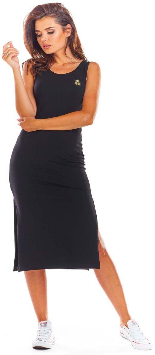 Czarna bawełniana dopasowana sukienka z rozporkami