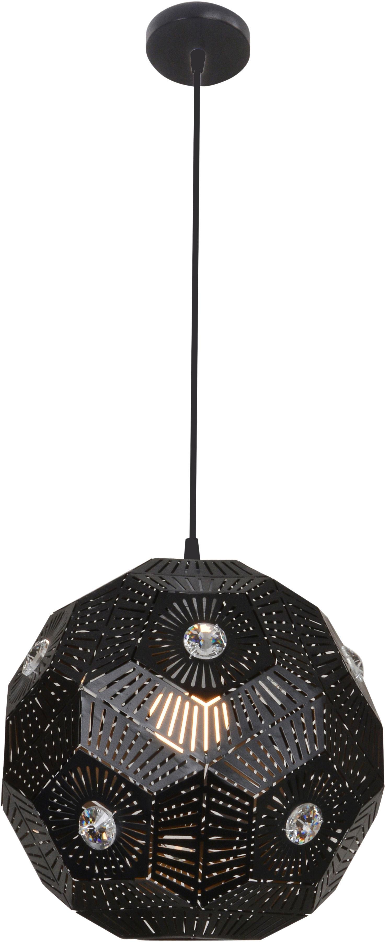 Candellux EUPHORIA 31-69764 lampa wisząca czarny metalowy klosz z kryształkami 1X40W E27 30cm