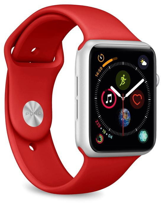 Elastyczny pasek PURO ICON Band Apple Watch 42 / 44 mm (S/M & M/L) (czerwony)