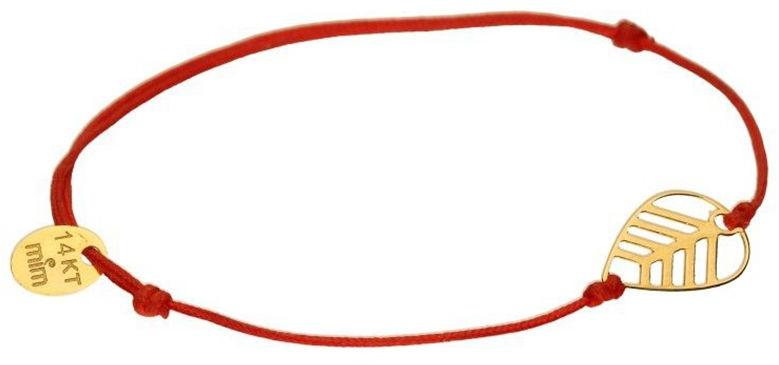 Złota bransoletka 585 sznurkowa z listkiem 0,47 g