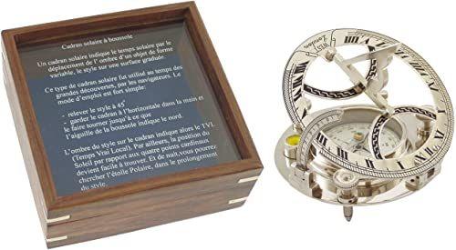 Générique dekoracyjny zegar słoneczny, kompas, mosiądz, niklowany mosiądz, 14 x 14 x 7 cm