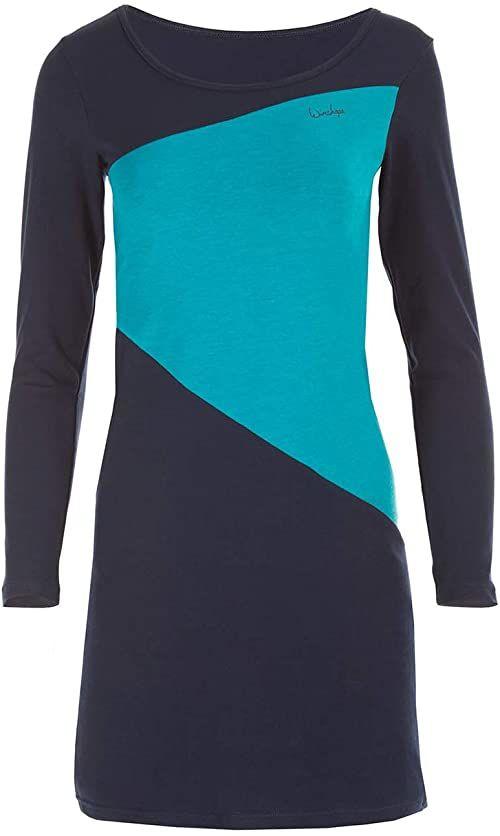 WINSHAPE Wk3 damska minisukienka w stylu retro z kontrastowym kolorem, street, sport, czas wolny wielokolorowa Night-blue-petrol S