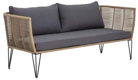Elegancka sofa ogrodowa brązowy antracytowa poduszka Mundo