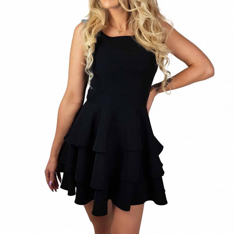 Sukienka elegancka czarna falbany BS001366