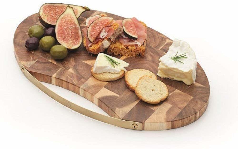 Artesa End ziarna owalna drewniana deska do sera/talerz do serwowania z uchwytem o wyglądzie mosiądzu, 32 x 20,5 cm