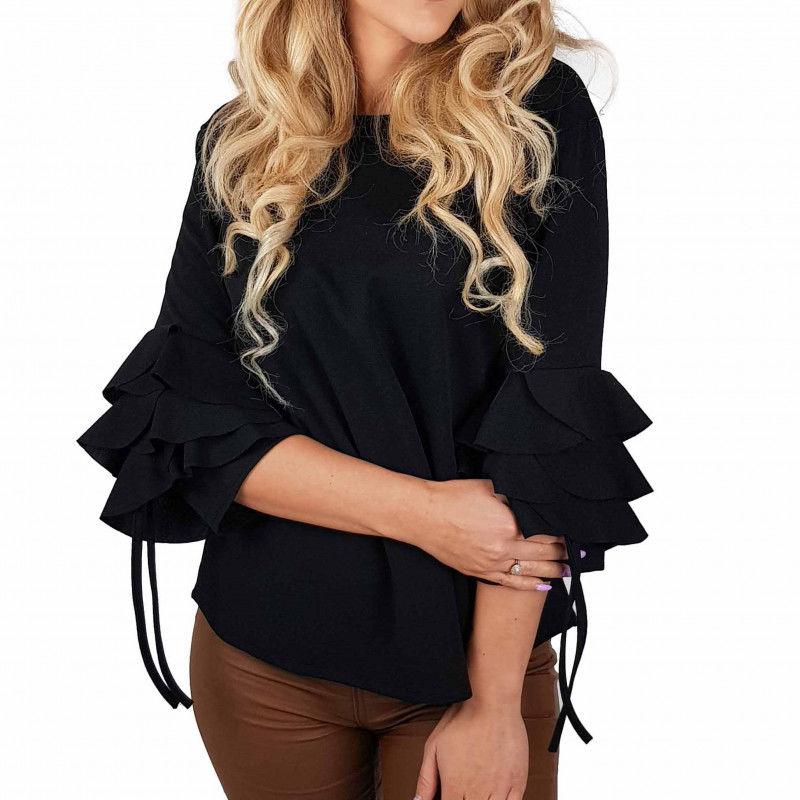 Bluzka damska elegancka falbanki czarna BS001368
