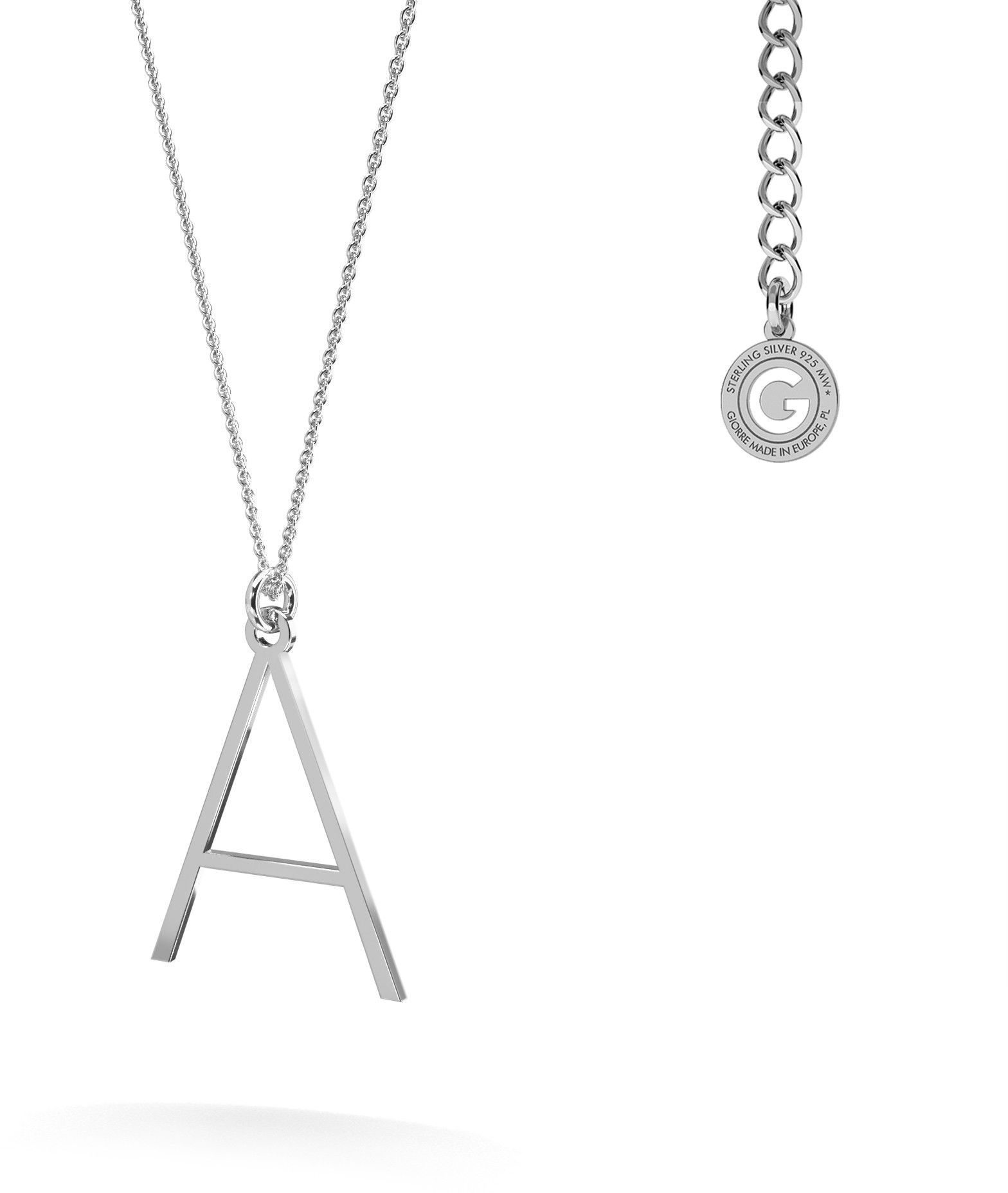 Srebrny naszyjnik z literką, alfabet, srebro 925 : Litera - A, Srebro - kolor pokrycia - Pokrycie platyną