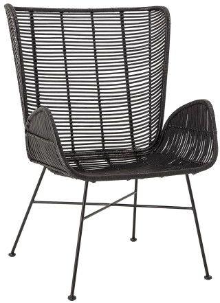 Czarny fotel rattanowy