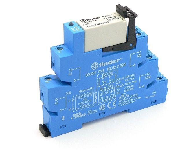 Przekaźnikowy moduł sprzęgający Finder 38.52.7.024.0050 Moduł sprzęgający, przełączne 2CO (DPDT) 8 A AgNi 24 V DC wykonanie czułe, tylko dla (6, 12, 24, 48, 60V) Finder 38.52.7.024.0050