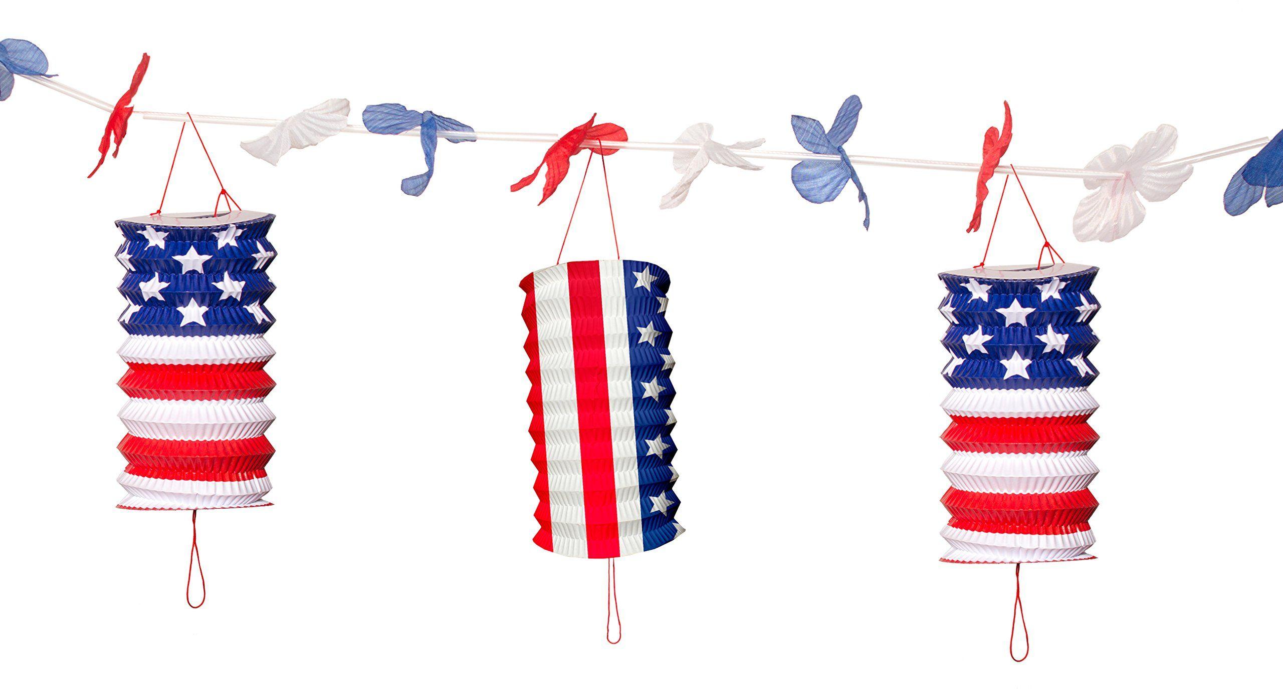 USA imprezowa girlanda latarnia 360 cm, niebieska czerwona i biała latarnia w stylu koncertu na 3,6 m ozdobionym sznurkiem