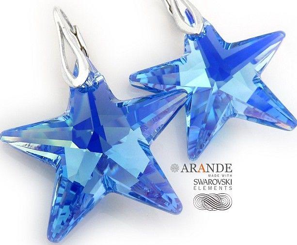 SWAROVSKI duże niebieskie kolczyki Star SREBRO
