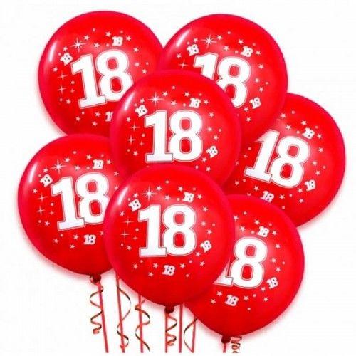 Balony na 18 urodziny STAR, czerwone 10 szt.