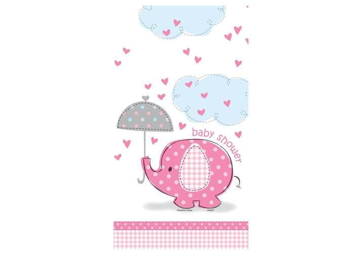 Obrus na Baby Shower Słonik z parasolem dla dziewczynki - 137x213 cm - 1 szt.