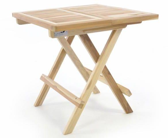 Składany stół ogrodowy DIVERO - drewno tekowe nie zaimpregnowane - 50 cm