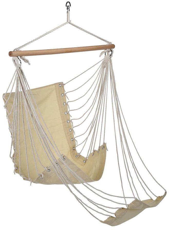 Beżowy fotel hamakowy z podnóżkiem - Corso