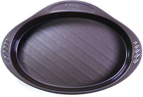 Pyrex 8010735 Asimetria naczynie do zapiekania owalne z uchwytem ze stali szlachetnej czekoladowy brąz 40,44 x 27,24 x 4,78 cm