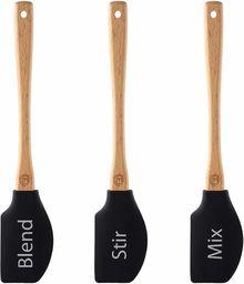 MasterChef Zestaw szpatułek 3-częściowy, Silikonowa główka odporna na ciepło, Drewniane uchwyty, Długość: 25cm