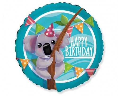 Balon foliowy Miś Koala, Happy Birthday