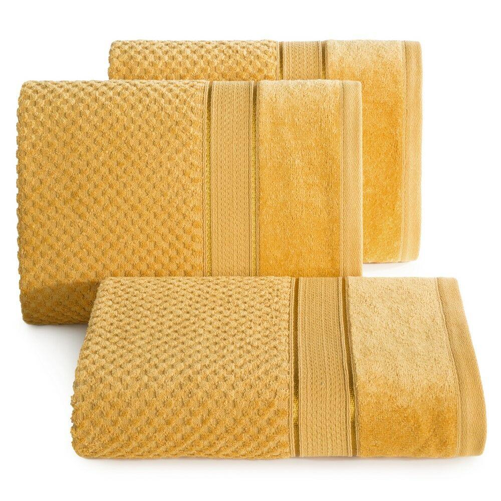 Ręcznik Jessi 70x140 musztardowy frotte 500g/m2 z fakturą wytłaczanej krateczki i welurową bordiurą Eurofirany