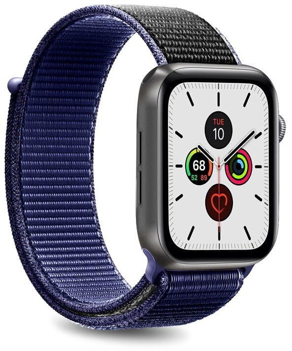 Nylonowy pasek PURO Band Apple Watch 42 / 44 mm (Granatowy/Czarny)
