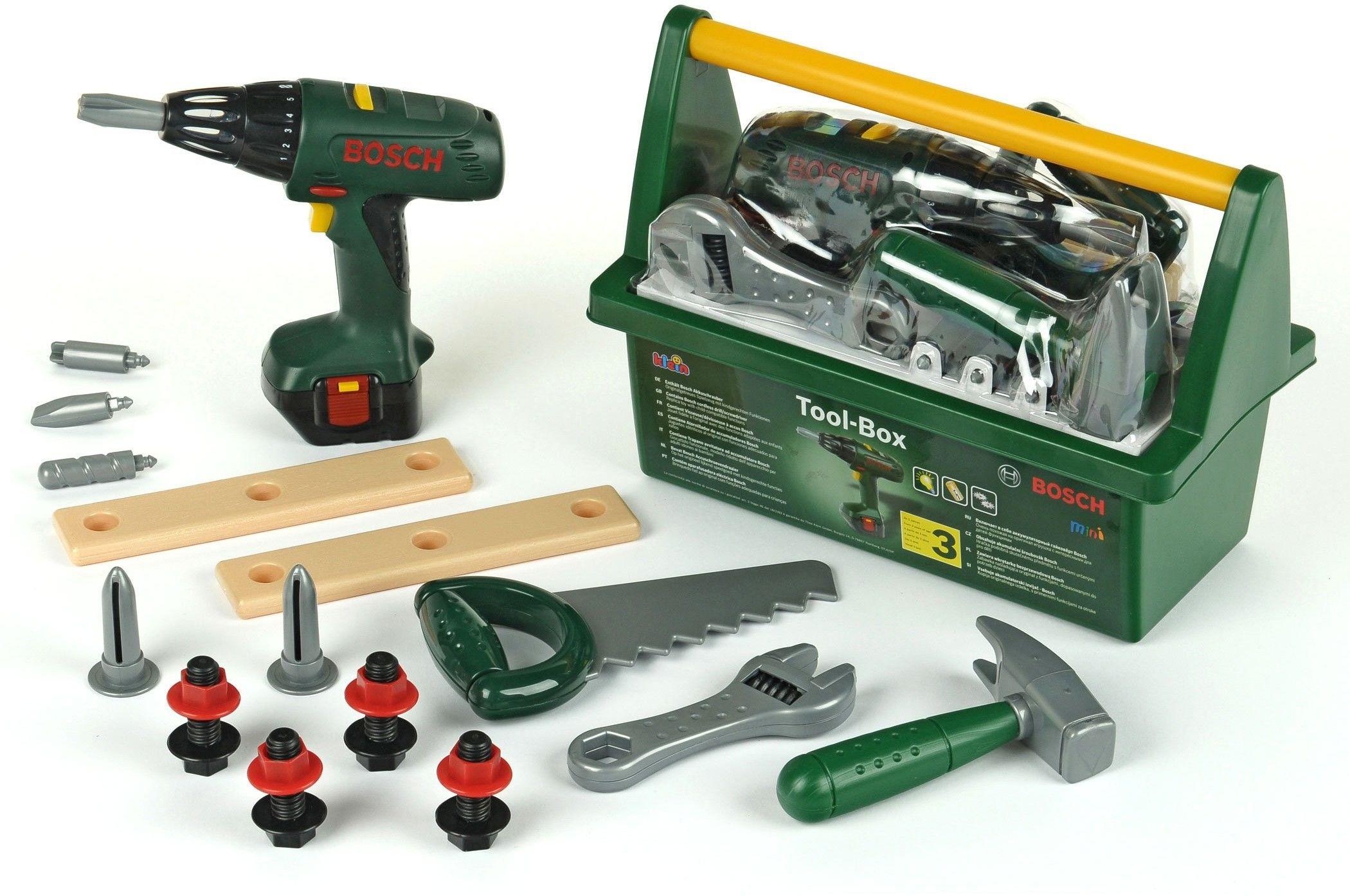 Bosch skrzynka z wkrętarką i narzędziami Klein