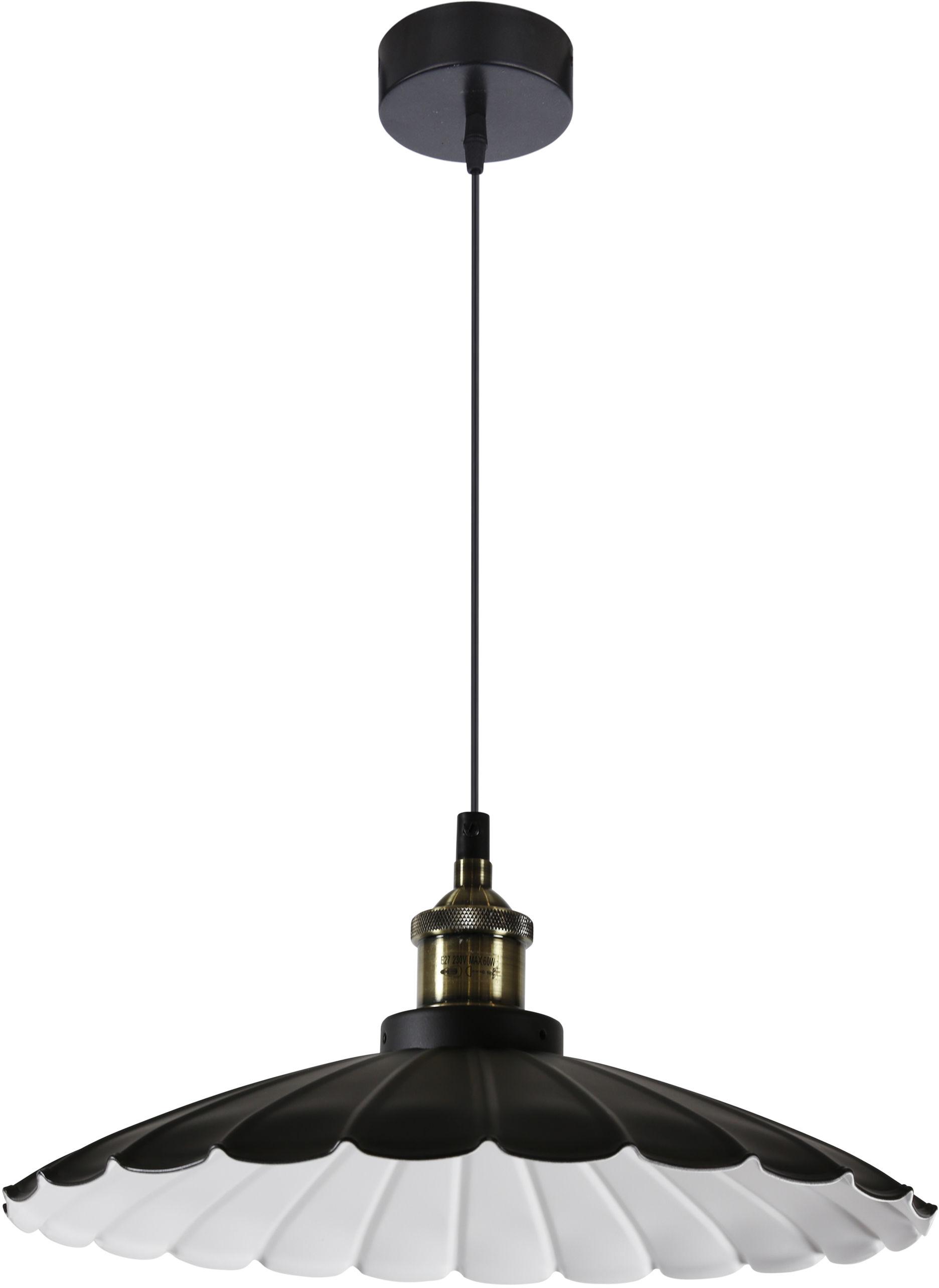 Candellux FLAM 31-56337 lampa wisząca1X60W E27 klosz stalowy czarny+ biały 34 cm