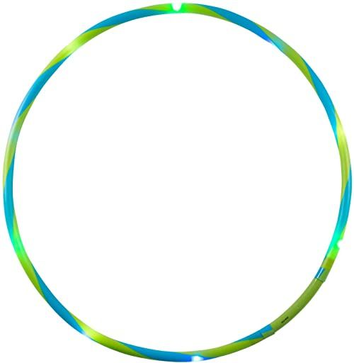 alldoro 63014 Hoop Fun Ø 60 cm, opony hula z 9 diodami LED, opony do uprawiania sportu, fitnessu i gimnastyki, opony sportowe ze światłem, dla dzieci od 4 lat i dorosłych, zielone/niebieskie