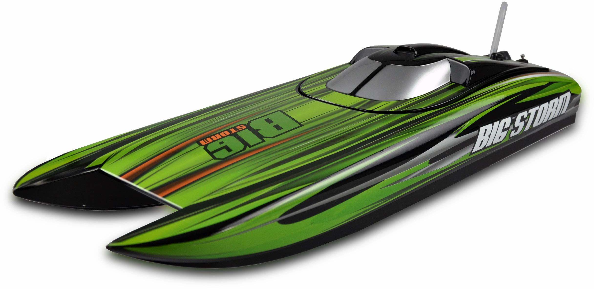 Amewi 26077 Big Storm Rennkatamaran Brushless 740 mm ARTR, zdalnie sterowana łódź, do 65 km/h, zielony/czarny