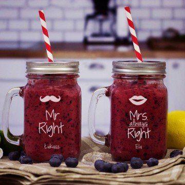 Mr & Mrs Right - Dwa grawerowane słoiki