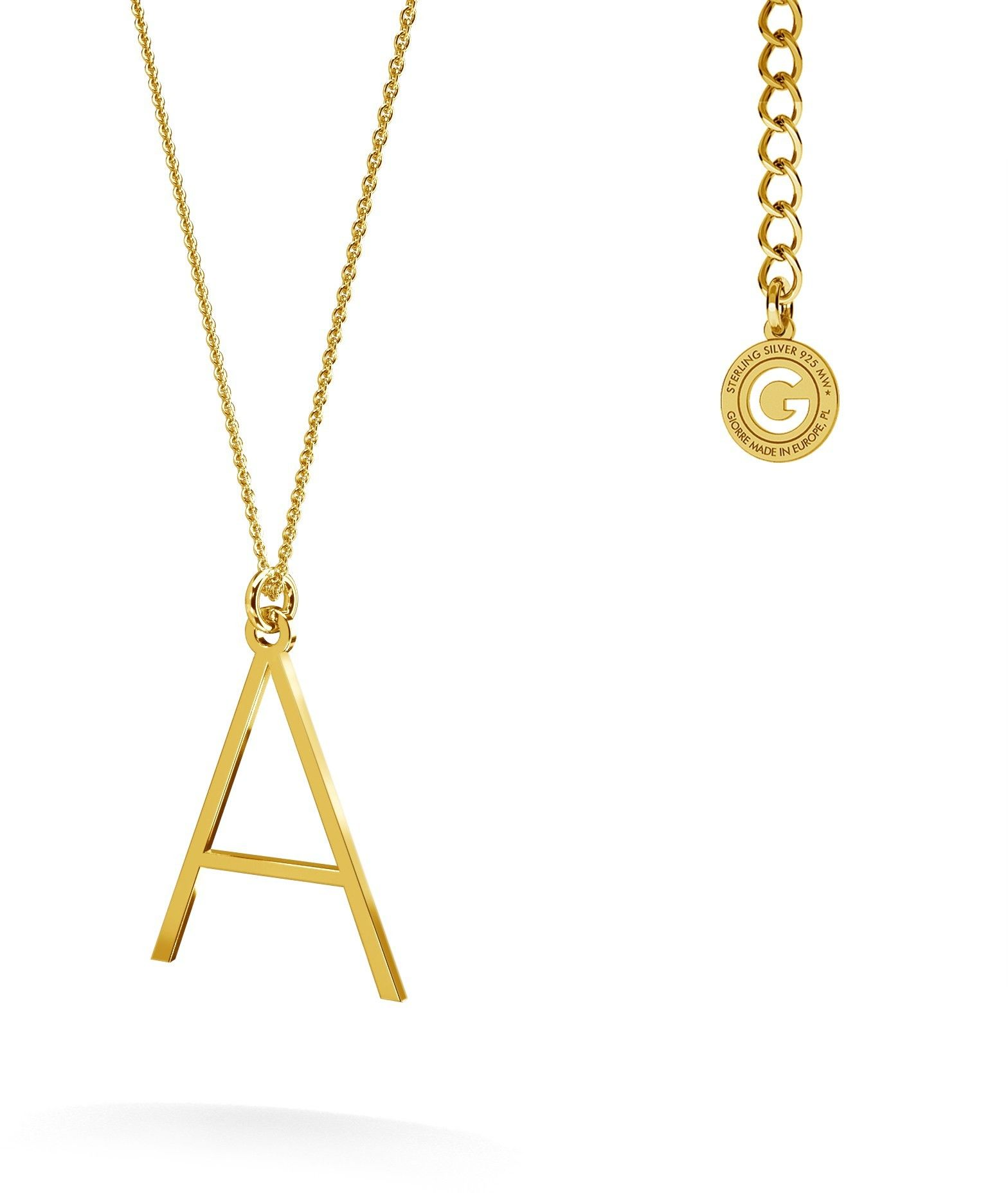 Srebrny naszyjnik z literką, alfabet, srebro 925 : Litera - E, Srebro - kolor pokrycia - Pokrycie platyną