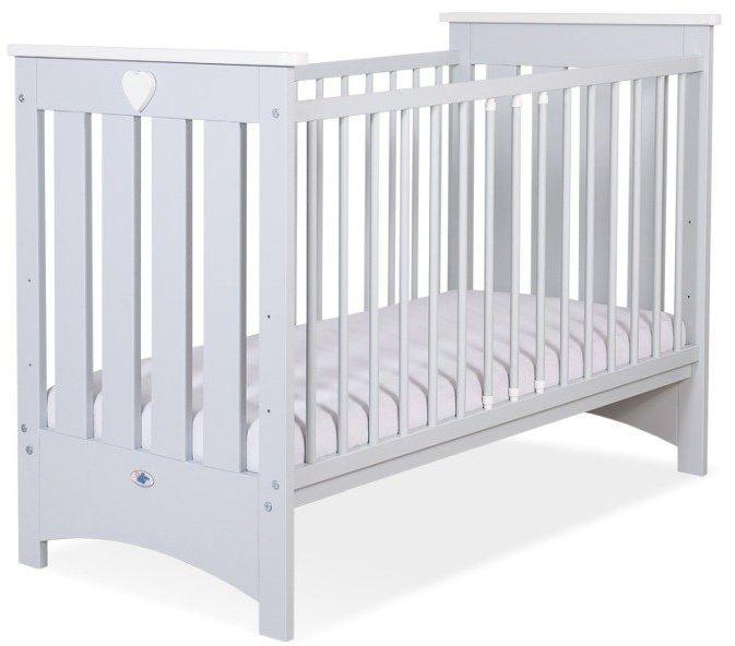 Łóżeczko drewniane Białe serduszko na szarym tle, 502406-My Sweet Baby
