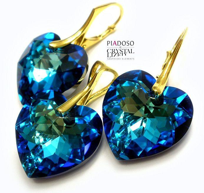 Komplet Kryształy +łańcuszek BLUE ZŁOTE SREBRO