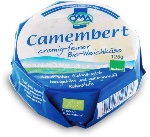 Ser camembert bio 50% tłuszczu w suchej masie 125 g - oma
