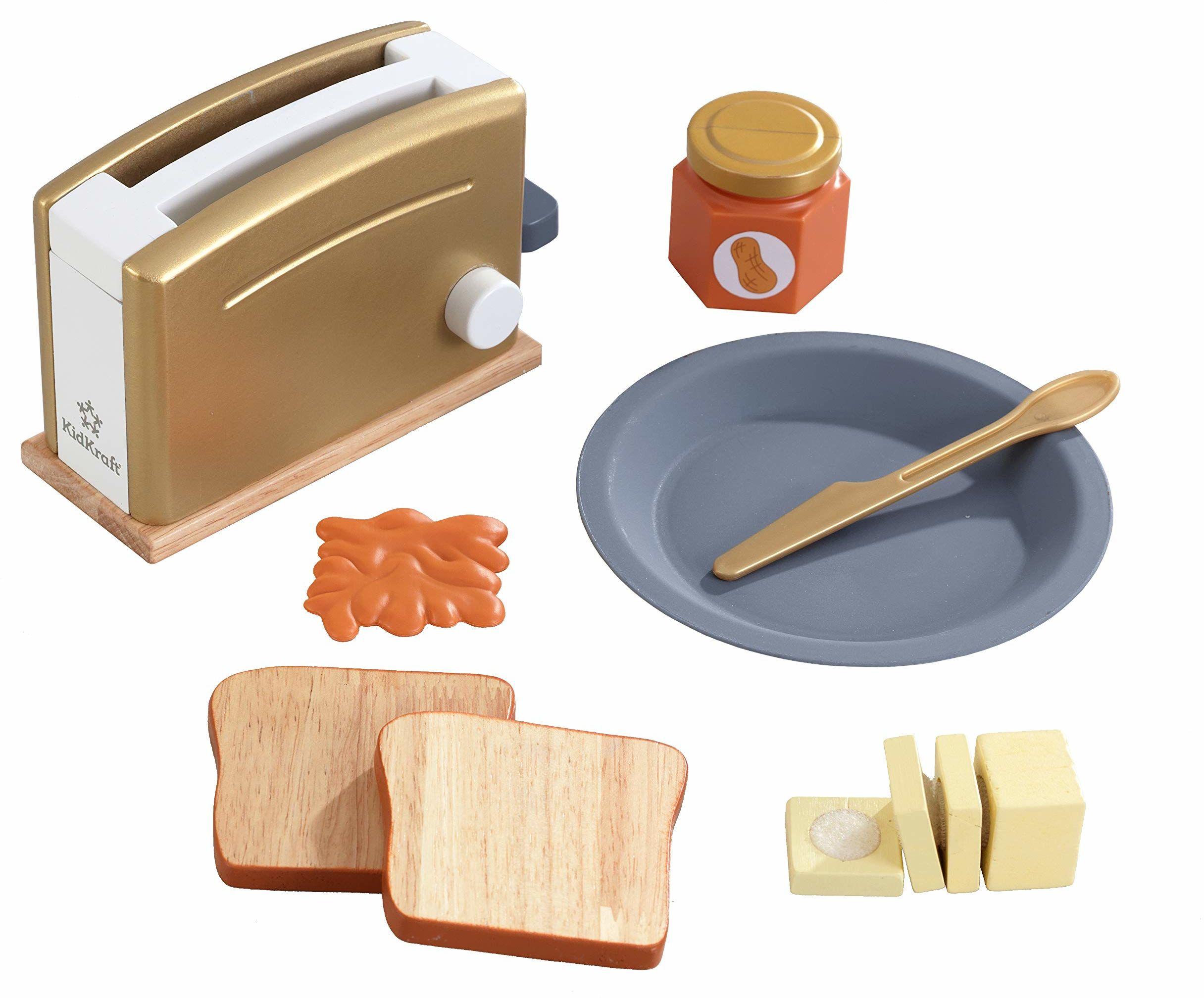 KidKraft 53536 drewniany zestaw tostrów do kuchni dla dzieci w nowoczesnych metalicznych kolorach akcesoria kuchenne do zabawy
