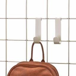 iDesign Zestaw 2 haczyków ściennych do systemu modułowego, małe metalowe wieszaki do biura, kuchni lub łazienki, haczyki na szyny na kurtki, torby, szaliki i biżuterię, matowe srebro