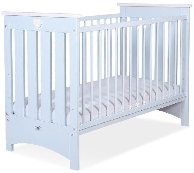 Łóżeczko drewniane Białe serduszko na niebieskim tle, 502403-My Sweet Baby