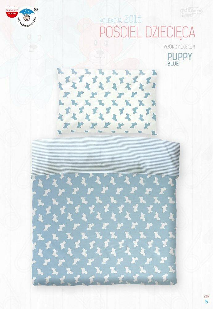 Pościel bawełniana 100x135 Puppy Pieski błękitna w paski 2794 do łóżeczka