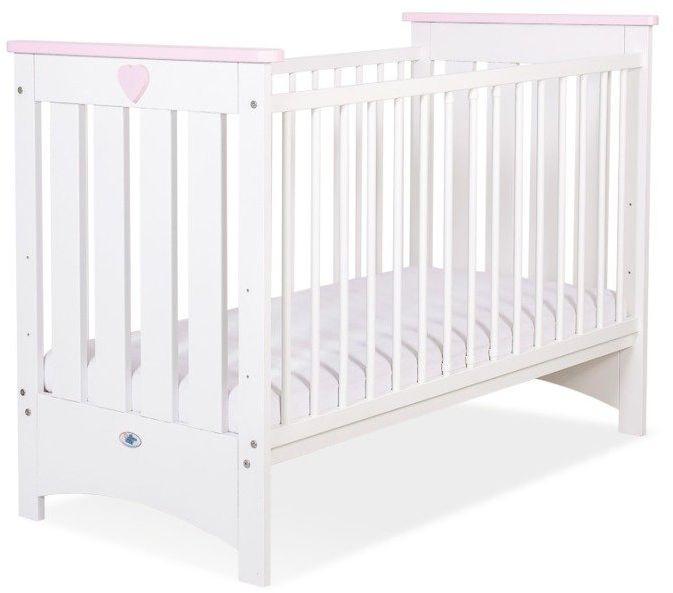 Łóżeczko białe drewniane Różowe serduszko, 50230708-My Sweet Baby