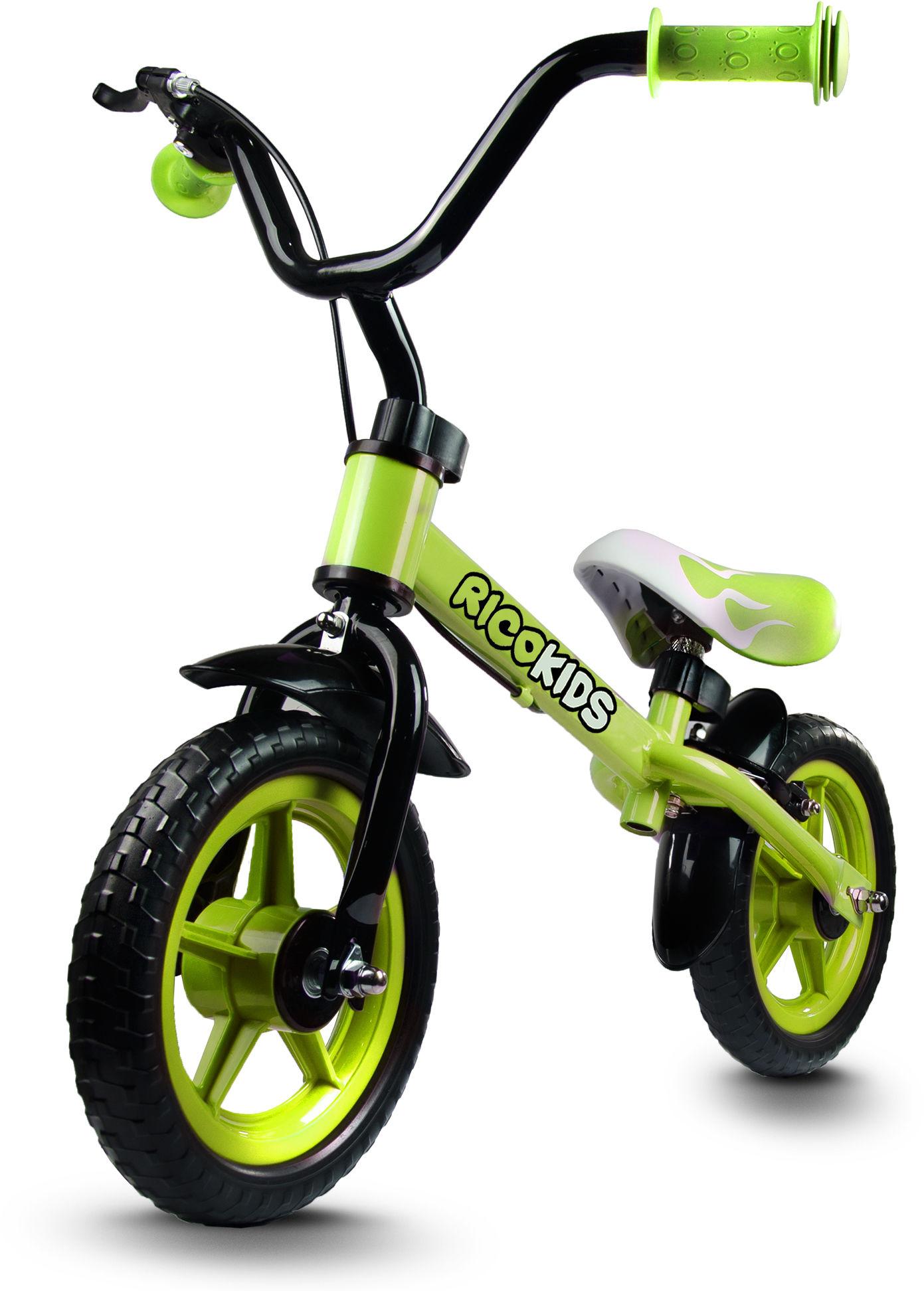 Rowerek biegowy z hamulcem RICOKIDS RC-302 /limonkowy/