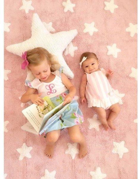 Dywan do prania w pralce pink stars white, lorena canals 120 x 160 cm