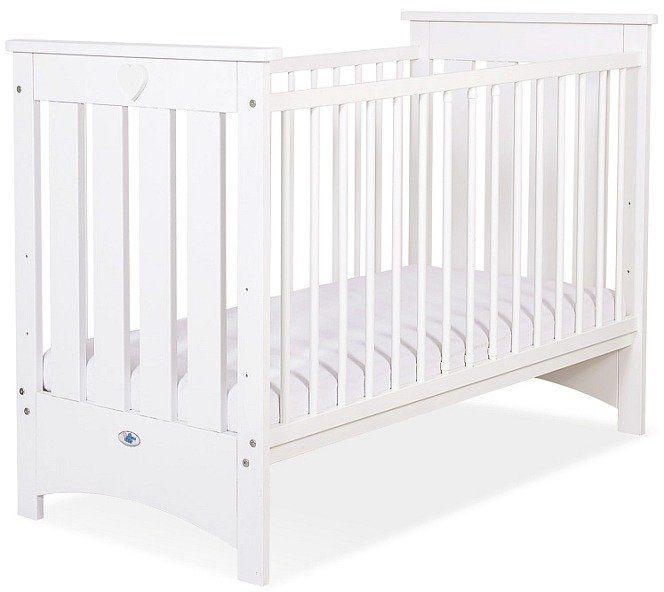 Łóżeczko białe drewniane Białe serduszko, 50230707-My Sweet Baby