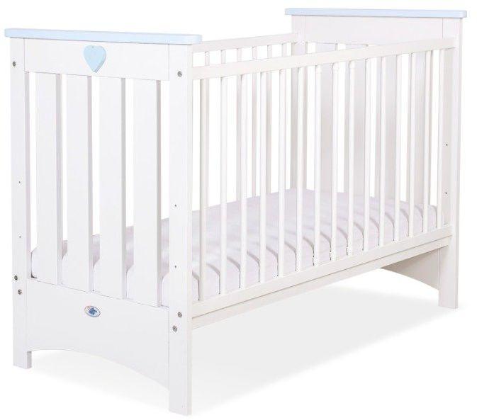 Łóżeczko białe drewniane Niebieskie serduszko, 50230703-My Sweet Baby
