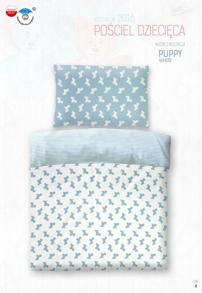 Pościel bawełniana 100x135 Puppy Pieski biała w paski 3791 do łóżeczka